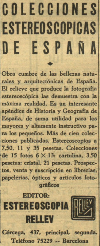 """Publicidad de Estereoscopia Rellev el 24 de diciembre de 1935 en el periódico """"Ahora""""."""