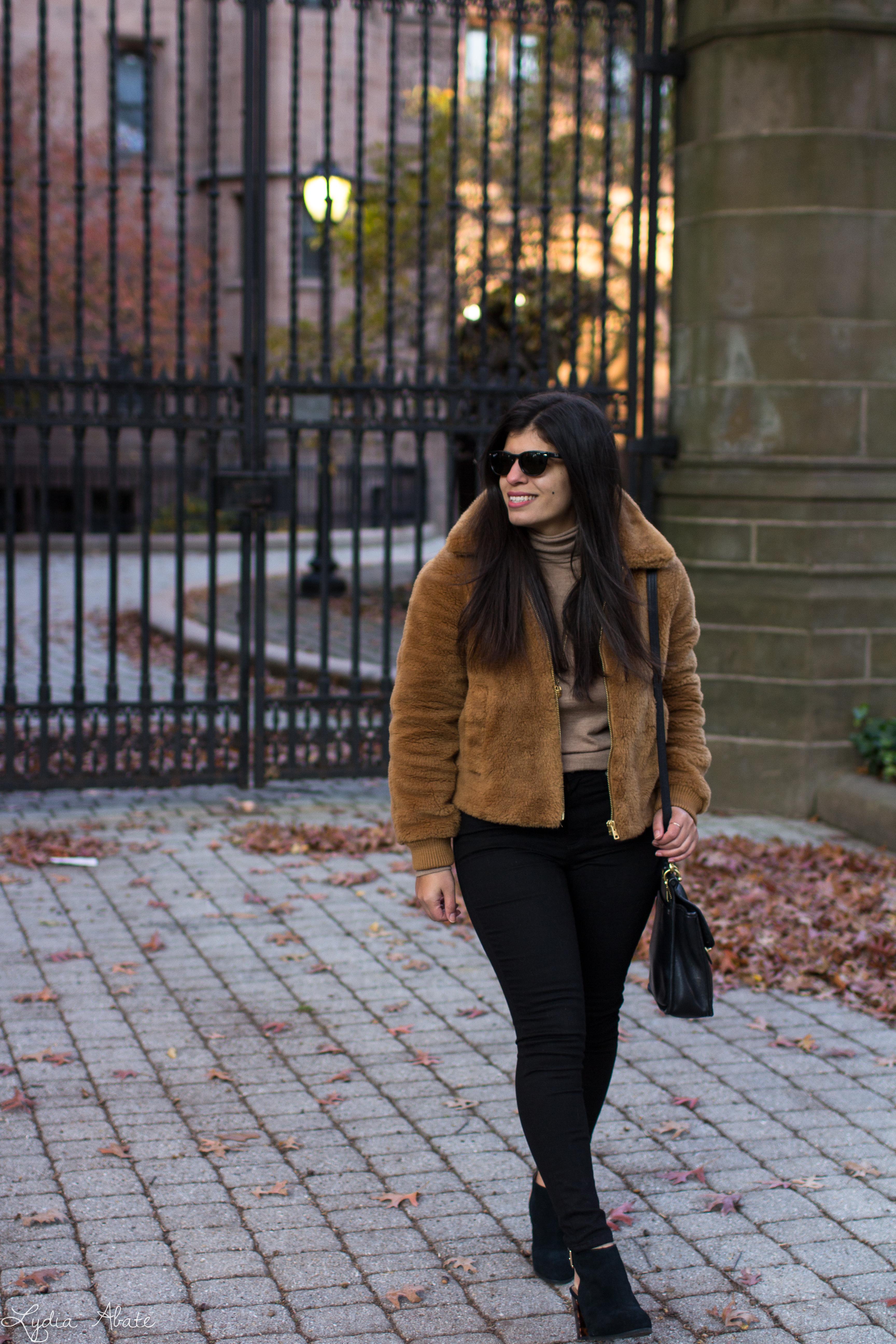plush fleece bomber jacket, black jeans, camel turtleneck, coach bag-6.jpg