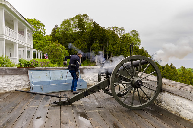 Cannon Firing at Fort Mackinac IV