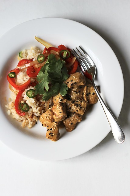 lightening-fast tahini chicken (or pork)