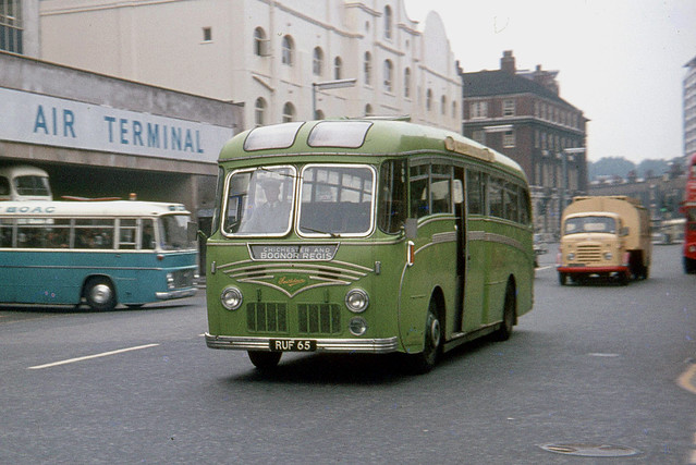 Southdown Motor Services . 1065 RUF65 . Buckingham Palace Road , Victoria , London  . August-1969 .