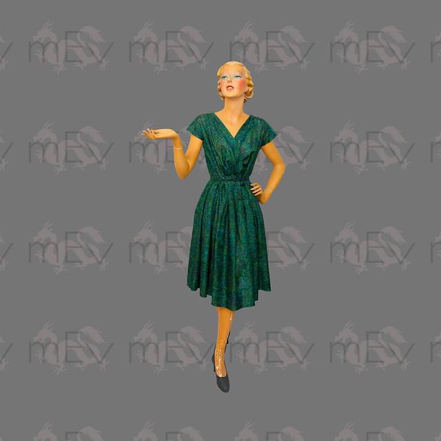 1960s Dark Green Paisley Wrap Front Dress By Meris London