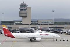 Push back Airbus A321 Iberia EC-IGK ZRH Zurich Airport Switzerland 2019