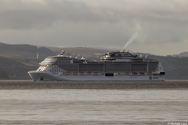 MSC's cruise ship MSC Meraviglia, IMO 9760512; Firth of Clyde, Scotland