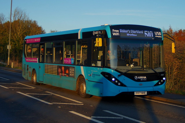 Sunset: Arriva Harlow ADL Enviro200MMC YX17NHE (4087) Stansted Road Stansted Mountfitchet 10/11/19