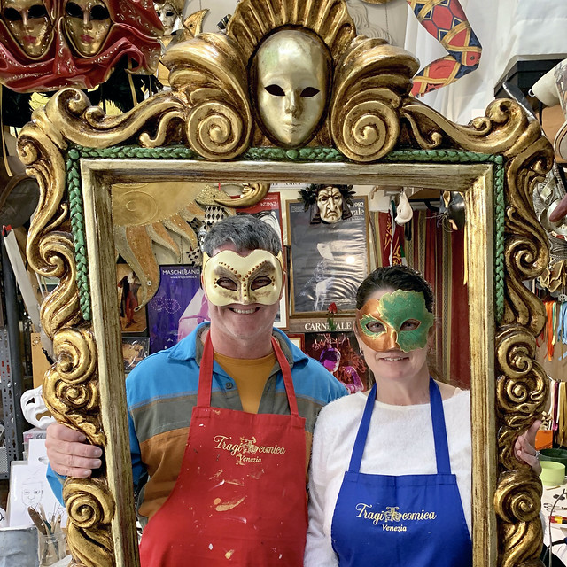 Italy 2019, Venice, with our completed carnival masks