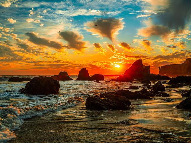 Malibu Beach Sunset Fine Art El Matador State Beach Los Angeles California! Fuji GFX100 Elliot McGucken Fine Art Landscape Nature Photography! Socal Sunset! Fujifilm Fujinon GF 32-64mm f/4 R LM WR Wide-Angle Zoom Lens