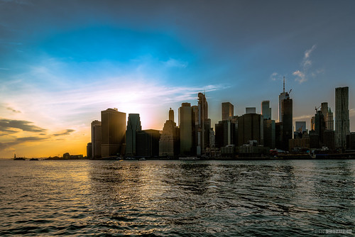 manhattan newyork river sunset sky skyscrapers city town ny d750 irix15mm nik