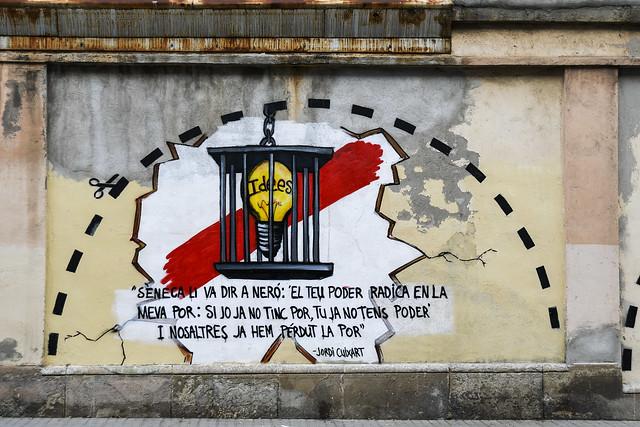 Mural Homenatge a Jordi Cuixart. Octubre de 2019 va ser condemnat a 9 anys de presó per ser un demòcrata de veritat.