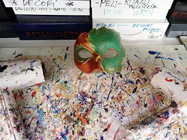 Italy 2019, Venice, Tragicomica J's mask drying paint