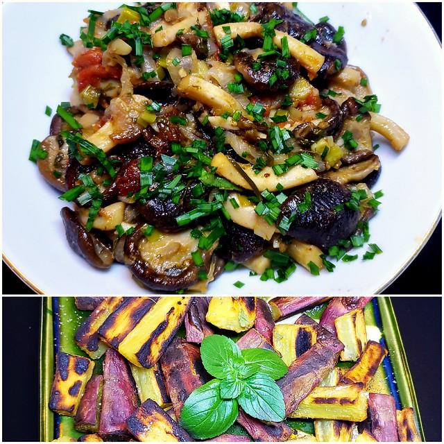 #101119 #almoço #lula  #cogumelos #batata doce #lunch #squid #mushroom #brownpotato