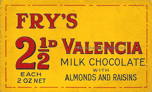Fry's Valencia Milk Chocolate with almonds and raisins 2½d each