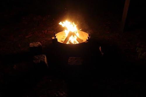 Feuerstelle im Garten von Freunden