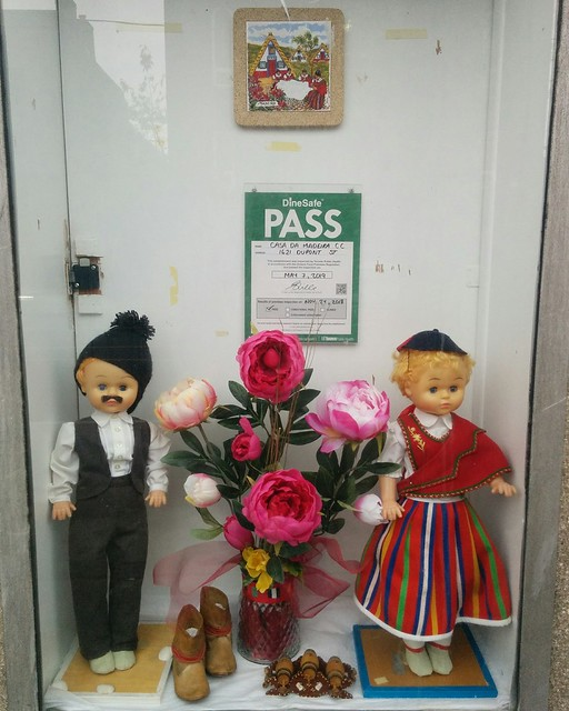 Two dolls #toronto #junctiontriangle #dupontstreet #windowdisplay #casadamadeira #dolls #tiles #madeira #portuguesecanadian