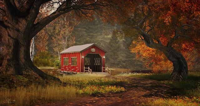 . { the red covered bridge at Carolina } .