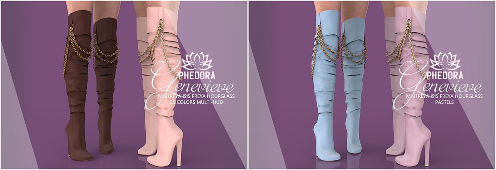 "Phedora. for Equal10​ - ""Genevieve"" chained boots ♥"