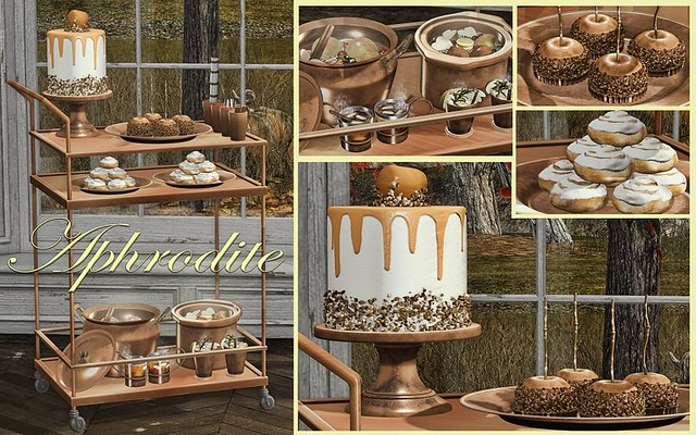 Aphrodite new Fall ciders & bites drinks cart; and Autumn hot drinks & smoares bar! Original mesh 100%, ultra low LI ans fully animated with auto attach/detach system for props, bento compatible. Please see the demos here:https://maps.secondlife.com/secon
