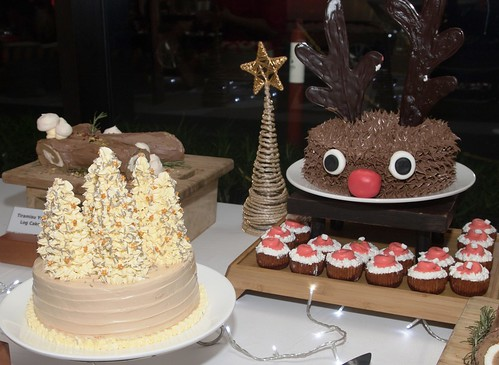 Christmas Tree Angel Cake, Tiramisu Yule Log Cake and Rudolph Reindeer Red Velvet Cake