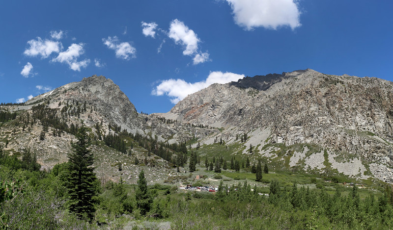 Looking northwest over the Onion Valley Parking area from the Robinson Lake Trail, Kearsarge Peak on the right