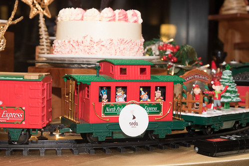 Christmas Train around Seda's Chocolate Peppermint Cake