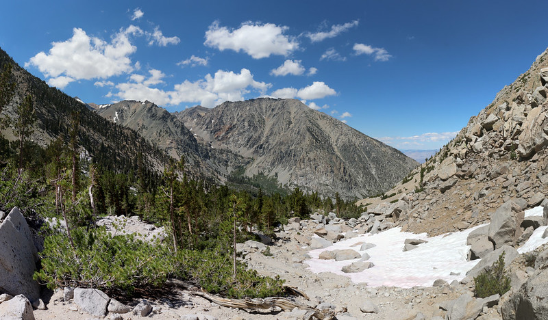 Looking back down the Robinson Lake Trail toward Kearsarge Peak and Onion Valley