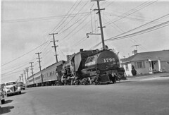 SP 1796, 2-6-0 with 4-car excursion train on April 8, 1956 in Oaklahd on 105th Avenue near East 14th
