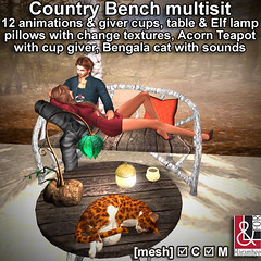 Country Bench multisit Set & Bengal Cat