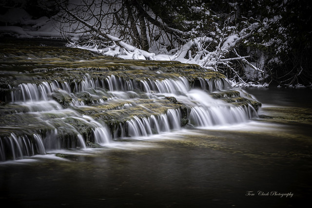 Au Train Falls in mid-winter. Michigan