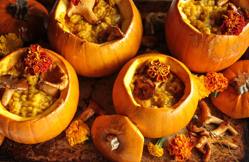 Pot of Gold: Pumpkin saffron chantrelle risotto (Vegan and Gluten-free) from HeatherChristo.com