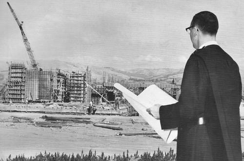 Alexian Brother overseeing new Alexian Brothers Hospital in San Jose, CA 1960's