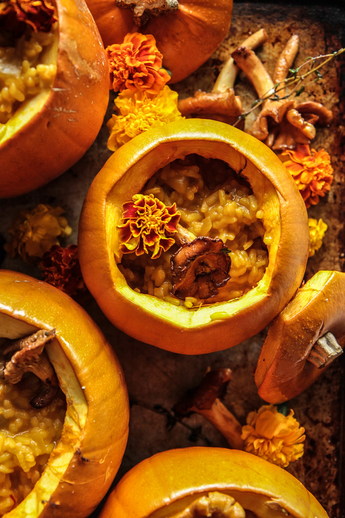 Pot of Gold: Pumpkin saffron chantrelle risotto (Vegan and Gluten-free) from HeatherChristo.com