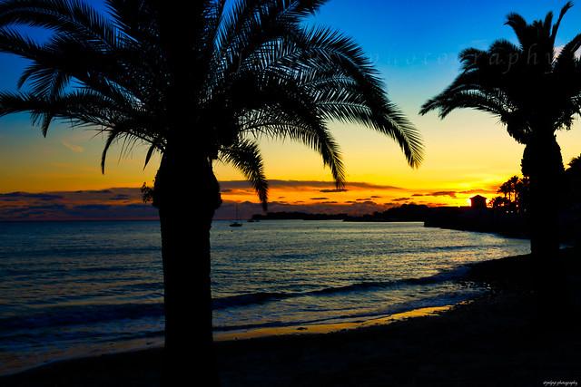 Coucher de soleil sur l'Île de Bendor et le port de Bandol -1L8A0876