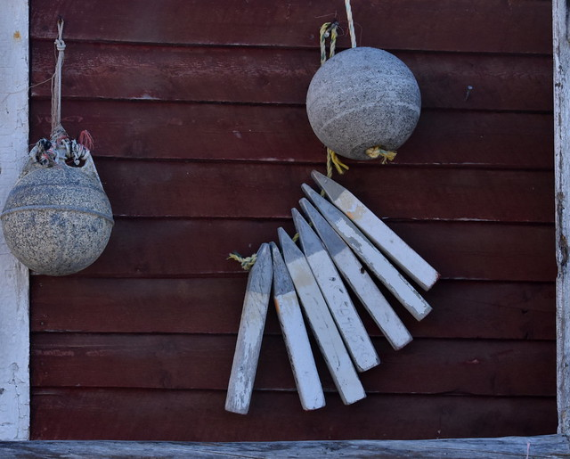 LEAD WEIGHTS FRAMED WITH WOOD STAKES.  COD AND WHALE INDUSTRY. ( LEAD STILL BEING USED, BY THE WAY....) NEWFOUNDLAND