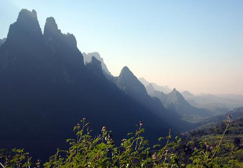 Mountains of karst in Vang Vieng, Laos