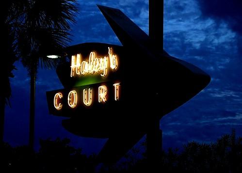 FL, Vilano Beach-Haley's Court Neon Sign