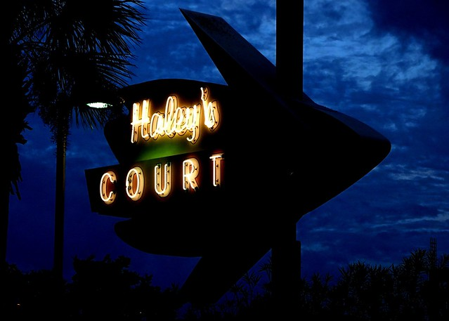 FL, Vilano Beach-Haley's Court Neon Sign