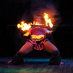 Fire limbo dancer