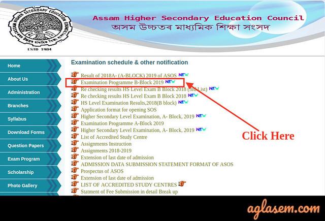 Assam State Open School Routine 2019