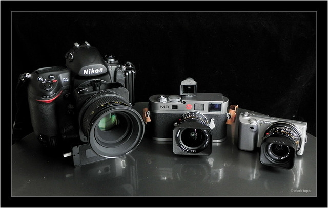 Nikon D3, Leica M9, Sony NEX-5