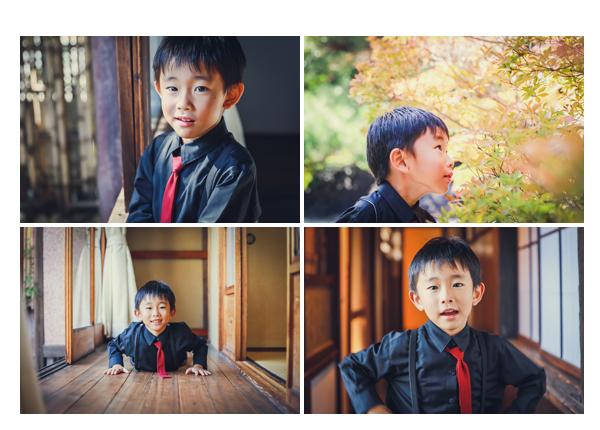 どうだん亭で七五三のロケーション撮影 ネクタイ姿の男の子 愛知県尾張旭市