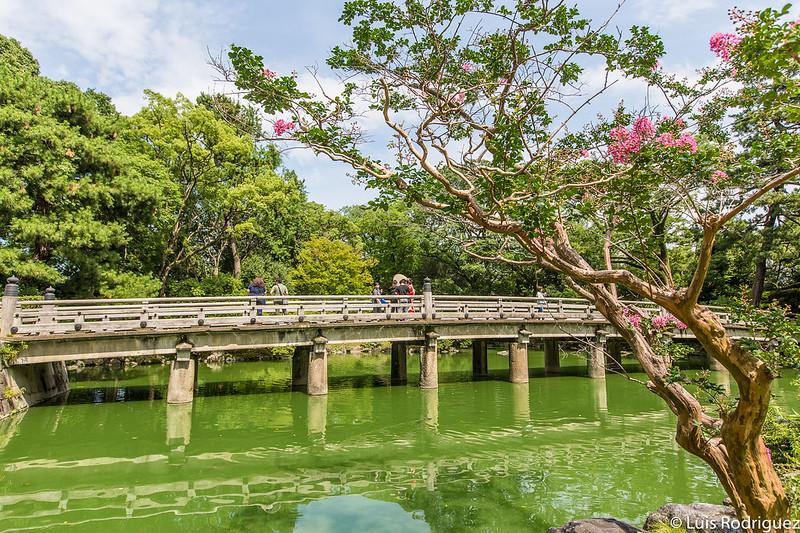 El parque del palacio imperial de Kioto, escenario de Sayonara.
