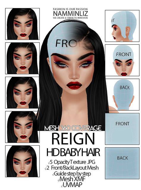 REIGN HD BABY HAIR 360 3D Mesh XMF UVMAP 5 Opacity Textures JPG 2 Layout Guide Step by Step