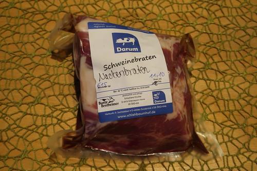 Schweinenackenbraten vom Bunten Bentheimer Schwein aus dem Hofladen des Schlehbaumhofs