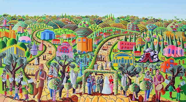 הציור המקורי הזמנות לחתונה דתית  ציור נאיבי רפי פרץ צייר אמן ישראלי להתחתן בחתונה מקורית הדפסת ציורים הזמנה חתונה  חרדית משפטים לחתן לכלה