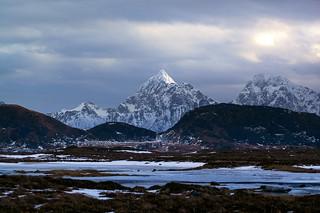 Lonely mountain in Lofoten
