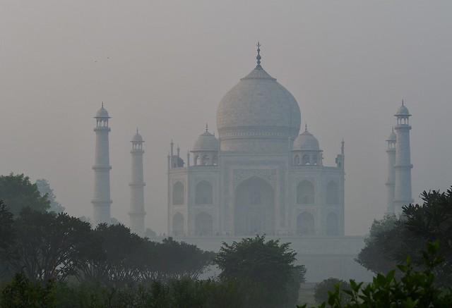 The Taj Mahal seen looming through the early morning mist. 27/10/2019.