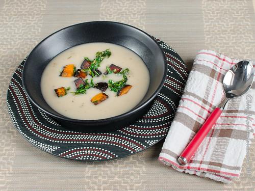 Weiße Bohnencremesuppe mit Kürbis und Rucola (2)