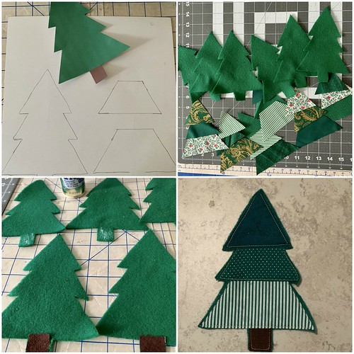 fabric scrap christmas tree garland 5
