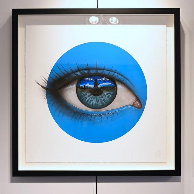 Blue - archival flatbed print with silkscreen varnishes on paper