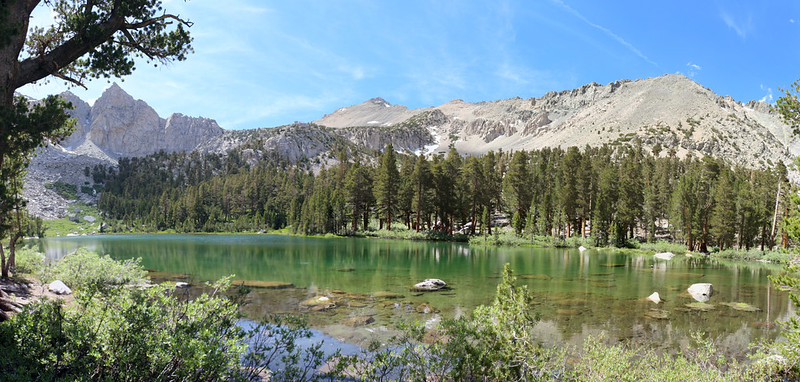 We headed for the south side of Flower Lake to find a campsite, with Mount Gould, center